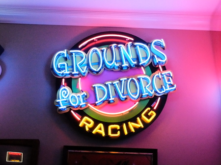 Grounds for Divorce Racing - Neon Garage Wall Sign