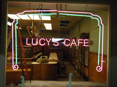 Lucy's Cafe Window Neon