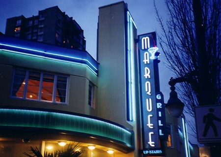 Marquee Grill - Proecting Sign - Night View